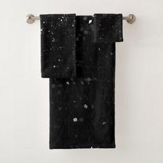 Towel Set Black Crystal Bling Strass