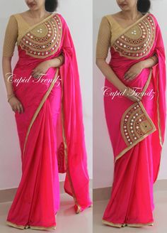 Designer Real mirror and beads handwork saree, all over gold beads border Silk CODE : JCMoti Work Saree With Trending Blouse Designs Pattern For Every Indian WomanLatest Blouse Back Neck Designs - Kurti BlouseTraditional Indian wear is beco Trendy Sarees, Stylish Sarees, Fancy Sarees, Party Wear Sarees, Stylish Dresses, Elegant Dresses, Silk Saree Blouse Designs, Saree Blouse Patterns, Designer Blouse Patterns