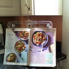 #OTlifehack - hang up your recipes with a skirt hanger to keep them at eye level while cooking.