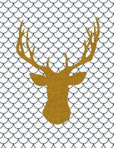 deer head scallop printable