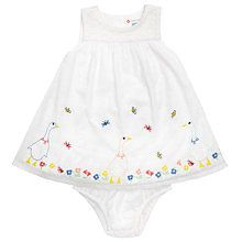 White dress with goose and flowers decoration.  Buy online from John Lewis.