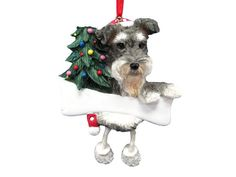 """Schnauzer Ornament Gray and White with Unique """"Dangling Legs"""" Hand Painted and Easily Personalized Christmas Ornament * Click on the image for additional details."""