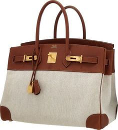 Hermes 35cm Natural Buffalo Leather & Toile Birkin Bag with Brushed Gold Hardware
