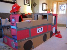 Fire Truck Dramatic Play (Maybe for Fire Safety week? Dramatic Play Area, Dramatic Play Centers, Fire Truck Craft, Fire Safety Week, Fire Prevention Week, Truck Crafts, Role Play Areas, Preschool Activities, Trains Preschool