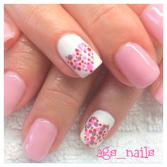 Gel nails Akzéntz  pink lingerie gel nails with polkadot hearts