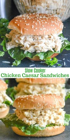 Slow Cooker Hot Chicken Caesar Sandwiches Move over chicken salad, there's a new Summer sandwich in town. These easy, creamy Slow Cooker Hot Chicken Caesar Sandwiches are full of flavor and a cinch to pull together even on the busiest days. Slow Cooking, Slow Cooked Meals, Slow Cooker Recipes, Crockpot Recipes, Chicken Recipes, Cooking Recipes, Healthy Recipes, Grilling Recipes, Chicken Caesar Sandwich
