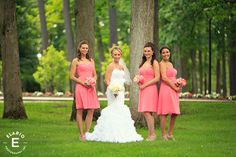 coral bridesmaid dresses, coral and peach bouquets #peonies #gardenroses #fleurtaciousdesigns-Elario Photography
