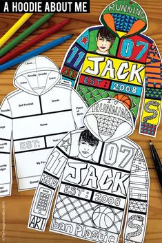 All About Me Back To School Fun Art Activity For Middle School Create a unique 'All About Me Hoodie'! This art and writing project is an easy back to school activity for the classroom. A great lesson plan for grade teachers to use as a f Back To School Printables, Back To School Activities, Art Activities, School Fun, Art School, High School, Primary School Art, School Week, Back To School Art Activity
