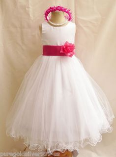 Flower Girl Dress WHITE/Fuchsia PETAL Wedding by NollaCollection ...