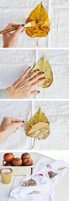 Easy gift idea - leaf stamping on a flour sack. Pin now for later- www - Towel Flour Sack Towels, Tea Towels, Flour Sacks, Creative Crafts, Diy Crafts, Leaf Crafts, Fall Kitchen Decor, Easy Fall Crafts, Towel Crafts