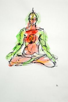 This gorgeous yoga drawing was done by Bulgarian born artist Boryana Korcheva.