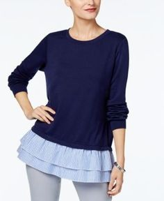 Ny Collection French-Terry Contrast-Hem Top - Blue XL
