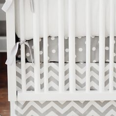 White on Gray Polka Dot Twill Crib Sheet