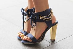 Love these shoes. The colour, the chains, the tie...even the toe nail polish.