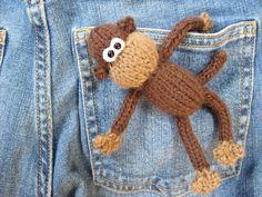 Pocket Monkey ... toy knitting pattern design by Amanda Berry #fluffandfuzz #knitting #knittedtoys #amandaberry