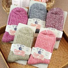 8a2ae1f90a3 5 Pairs Womens Wool Cashmere Thick Sock Soft Casual Sports Winter Socks US  Stock Decoration Supplies
