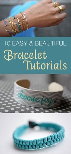 Need a new bracelet? Here are 10 easy and stunning bracelet tutorials. Diy Bracelets How To Make, Make Your Own Bracelet, Homemade Bracelets, How To Make Beads, Bracelet Making, Jewelry Making, Beaded Jewelry, Handmade Jewelry, Do It Yourself Fashion