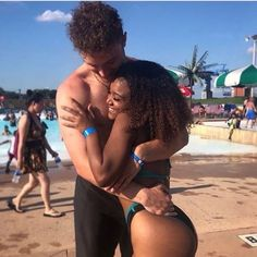 Swirl Sexy interracial couple at the pool