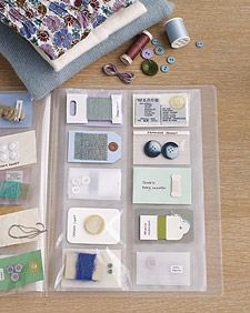 A simple business-card organizer (from an office-supply store) keeps all the fixings for your clothes in one place.