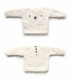 Discover thousands of images about Knitted Teddy Bear Sweater - Baby Knits - [ EASY Pattern & Tutorial ] Free Baby Sweater Knitting Patterns, Knit Baby Sweaters, Baby Hats Knitting, Knitting For Kids, Baby Patterns, Pull Bebe, Knitted Teddy Bear, How To Start Knitting, Baby Kind