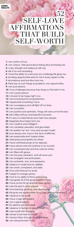 Positive affirmations can boost low self-esteem, improve confidence, counter negative thoughts, and help you feel better about yourself. There are hundreds of awesome affirmations, and we gathered 52 of the best.