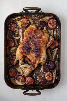 Roast Duck With Plums Recipe Saveur - A Simple Roast Duck Is Paired With Juicy Plums And Spices In This Recipe From Biergarten Cookbook Traditional Bavarian Recipes By Julia Skowronek Dorling Kindersley March This Recipe Plum Recipes, Duck Recipes, Roast Recipes, Fruit Recipes, Chicken Recipes, Cooking Recipes, Easy Cooking, Baked Chicken, Holiday Roast Recipe