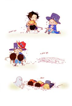 Monkey D. Luffy, Portgas D. Ace and Sabo. None of them can swim anymore [KANAZUCHI].