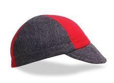 Grey/Red Wool Cycling Cap