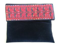 Velvet and embroidered clutch