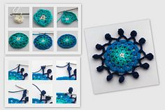 This is the pattern of a Pompom Crochet Coaster. Named after its border it is a nice coaster for different sized glasses. But there are more ways to use them. Maby on a canvas, as a dream catcher over the bed or as a decoration in the window. Even as a christmas gift?