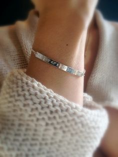 Beautiful sleek sterling silver coordinates bracelet. Personalize your silver bar bracelet with gorgeous diamond engraved latitude and longitude