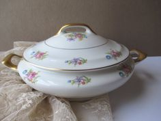 Vintage Jackson Featherweight Floral Covered Dish by thechinagirl