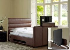 Chav bed for the boudior...Barcelona 32 Inch TV Bed - Dark Tan