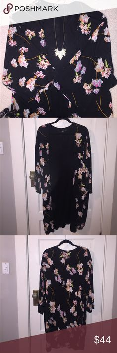 ASOS long floral kimono size 6 Long black floral kimono from ASOS. Super soft, trendy and easy to wear with anything! The bottom comes down to the back of my knee (I'm 5'4) and has full length arm sleeves. Size 6 in excellent condition ASOS Tops