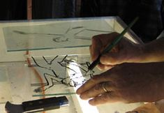 Learn traditional glass painting from an expert. See how to use brushes for outlining your design. Contains video, photos and kiln firing schedule.