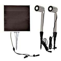 Solar Goes Green Solar-Powered Silver Stainless Steel LED Dual Light Head Spotlight with Cool/Warm Selector and Spot/Flood Lenses - The Home Depot Solar Flood Lights, Solar Spot Lights, Led Exterior Lighting, Outdoor Lighting, Light Bulb Types, Lighting Solutions, Go Green, Solar Panels, Solar Power