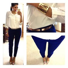 Hello, Gorgeous!: threads. Blue pants // metallic accessories // white button up shirt // colorful heels