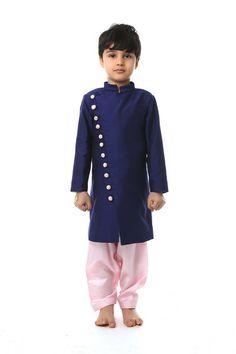 Cotton silk kurta with surat silk lining and brocade trimmings and surat silk pajama