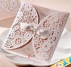 laser cut lace Wedding / birthday invitation card with ribbon white elegant envelope personalized customizing with free shipping