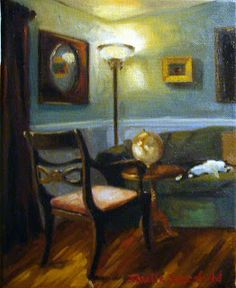 Jonelle Summerfield Oil Paintings: Peaceful Interior with Cat