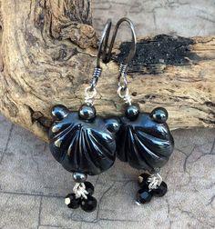 Metallic Black Scallop Clam Seashell Lampwork Glass Earrings by ASplashOGlass on Etsy