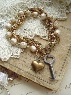 SENTIMENTAL - Antique Skeleton Key Jewelry. Vintage Key, Shabby Pearls, Brass Heart Charm Bracelet. Vintage Assemblage Jewelry. RESERVED.