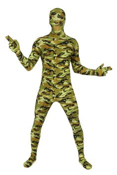 Camouflage Pattern Morphsuit Full Body Costume - You'll fly under the radar with this great Camouflage Pattern Morphsuit! This is a full body morphsuit with a green and brown camouflage pattern. It is made of a stretchy fabric and fits most people, with size based on height. This great morphsuit is perfect for Halloween, costume parties, concerts, festivals, even paintball or other outside competitions. Perfect for military or hunter inspired costumes. #morphsuit #costume #yyc #calgary