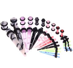 BodyJ4You® Gauges Kit 16 Pairs Mixed Color Marbled Acrylic Tapers Plugs 14G 12 G10G 8G 6G 4G 2G 0G 32 Pieces