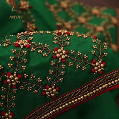 Crafted with antique zardosi bead French knot and thread this blouse has a royal look. 04 December 2019 Crafted with antique zardosi bead French knot and thread this blouse has a royal look. Saree Embroidery Design, Zardosi Embroidery, Hand Embroidery Dress, Embroidery Neck Designs, Bead Embroidery Patterns, Beaded Embroidery, Embroidered Blouse, Embroidery Stitches, Indian Embroidery