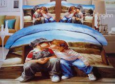 Lovely Kissing Babies Print 4-Piece #3D Duvet Cover Sets #bedroom #bedding #stylish