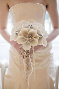 Broderie Anglais Bridal Bouquet by Paper-me-Happy. Lots of Lace, Pearl and Lovely Crochet. Image copyright of Hannah Mia Photography.