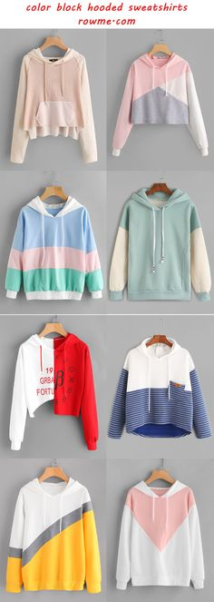 color block hooded sweatshirts - romwe.com