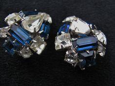 Vintage Rhinestone Earrings Clips Sapphire by ToadSuckTreasures