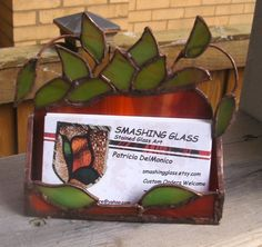 Stained Glass Business Card HolderPotted Plant by smashingglass, $28.99